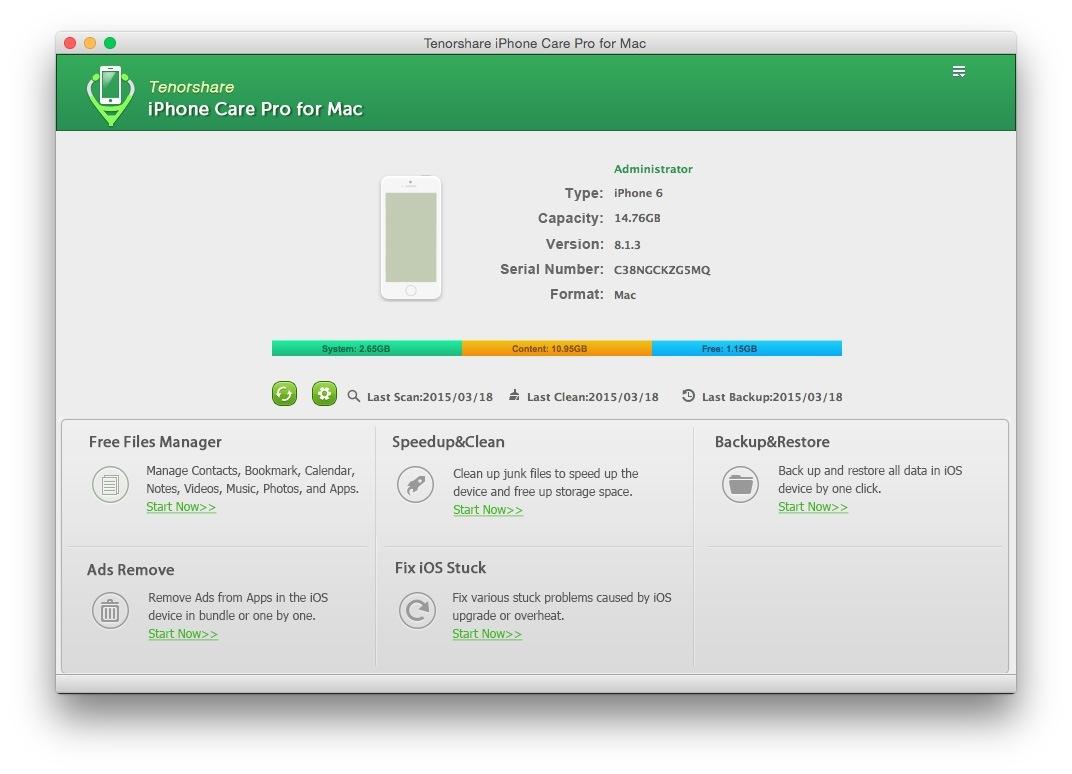 main interface Tenorshare iPhone Care Pro: proteggi, ripara e velocizza il tuo iPhone