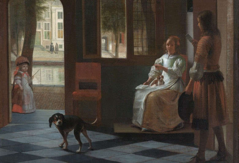 man hands a letter to a woman in a hall by pieter de hooch 780x533 Tim Cook scorge iPhone in un dipinto del 1670