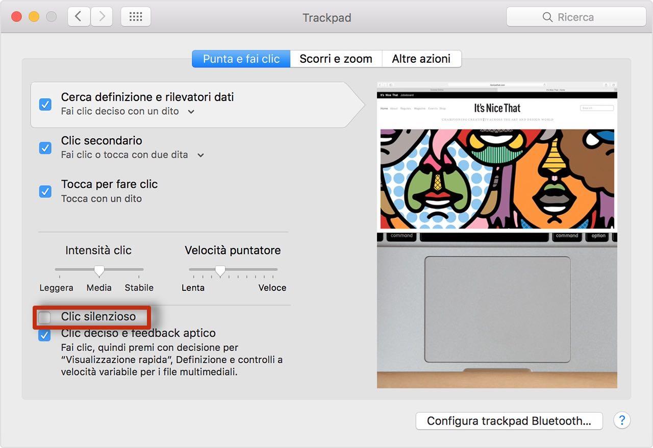 click silenzioso Come disabilitare il suono del finto clic sul trackpad Force Touch