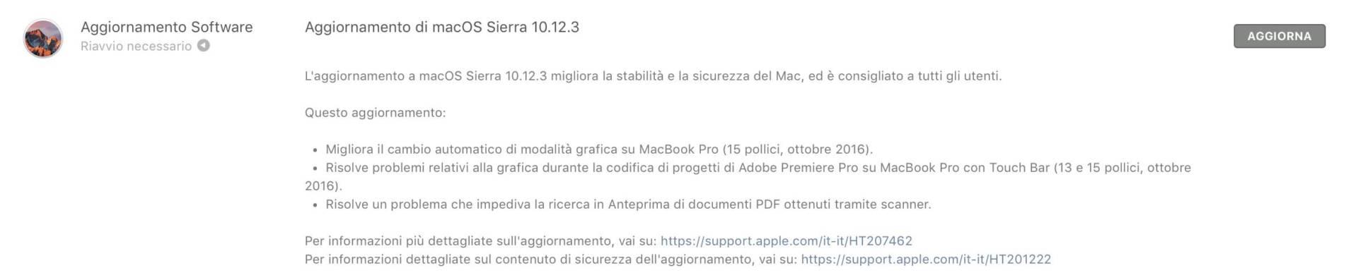 schermata 2017 01 23 alle 19.14.13 Rilasciato aggiornamento a macOS Sierra 10.12.3