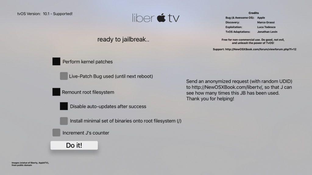 libertv guide option 1024x576 Rilasciato liberTV per effettuare il jailbreak di Apple TV 4
