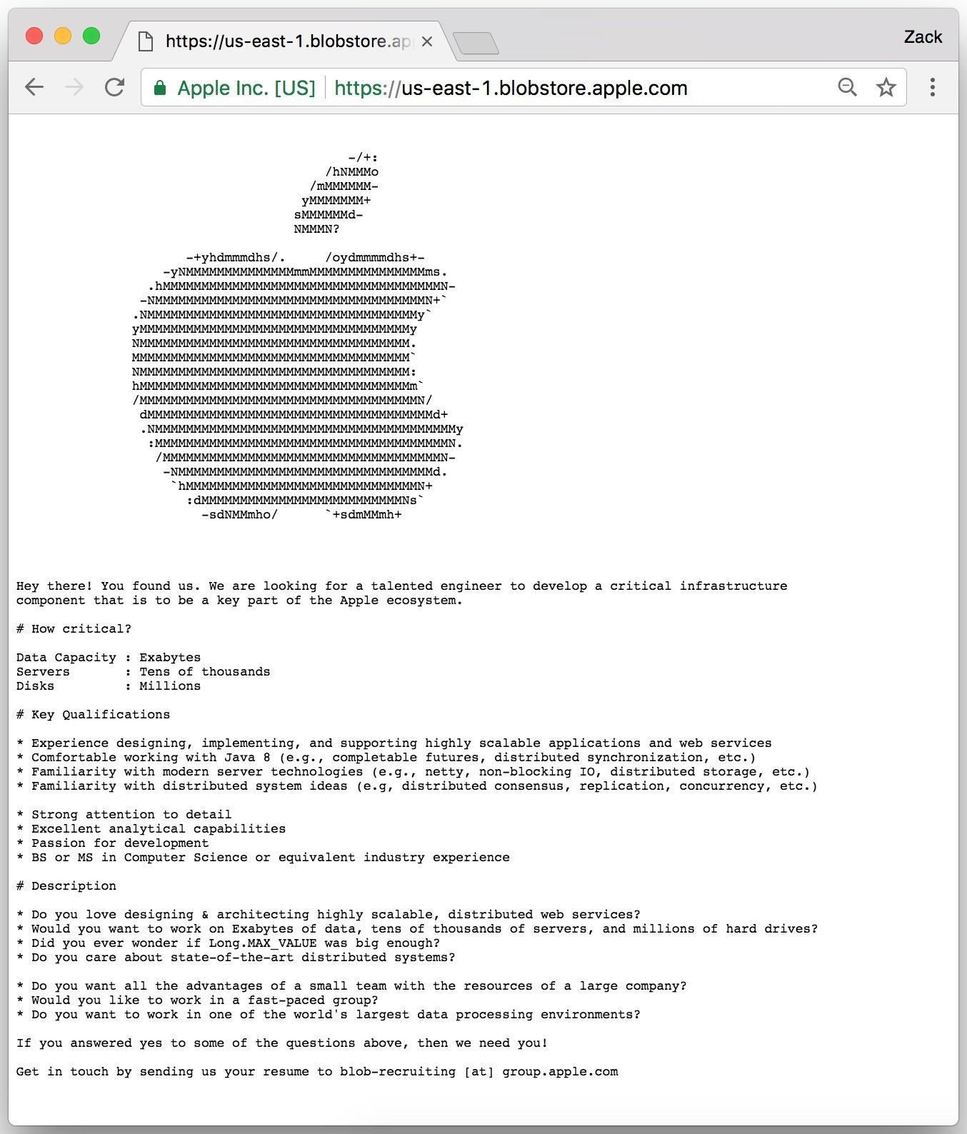 www.italiamac.it apple secret posting Apple assume ingegnere tramite caccia al tesoro