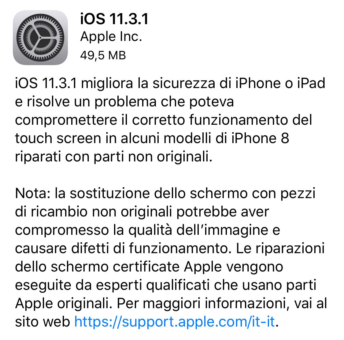 italiamac img 7395 Apple rilascia iOS 11.3.1 risolvendo il problema degli schermi di terze parti