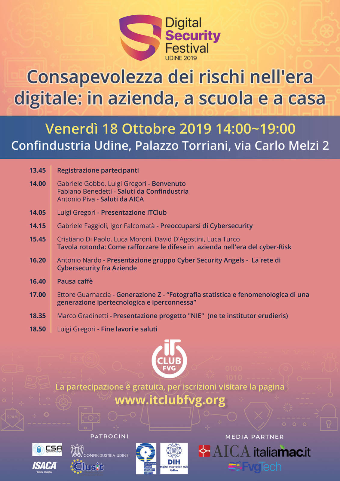 locandina itc digital security Digital Security Festival 2019, 18 ottobre a Udine
